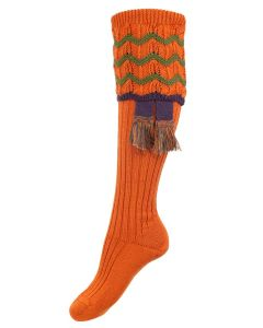 The Lady Grafton Shooting Sock with Garter,  Burnt Orange