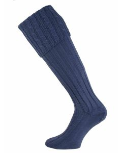 The Moreton Cotton Cable Shooting Sock - Oxford Blue
