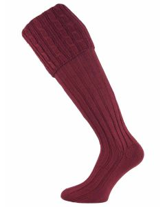 The Moreton Cotton Cable Shooting Sock - Port