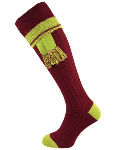 The Docklow Shooting Sock - Claret & Lime Green