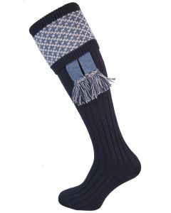 The Whitley Navy Shooting Sock with Garter