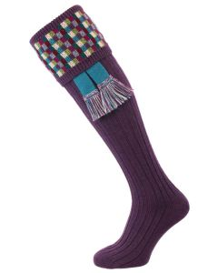 The Ashton Shooting Sock with Garter, Grape