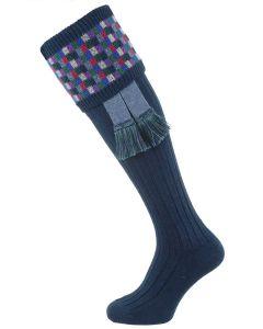The Ashton Shooting Sock with Garter, Indigo