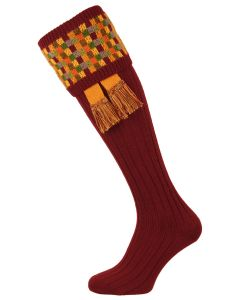 The Ashton  Burgundy Shooting Sock with Garter