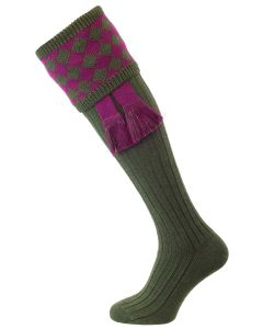 The Chessboard Shooting Sock, Spruce & Bilberry