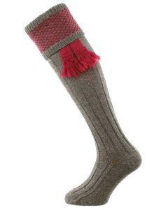 The Penrith Shooting Sock, Derby Tweed & Cherry