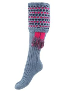 The Lady Honeycomb Shooting Sock with Garter, Blue Mix