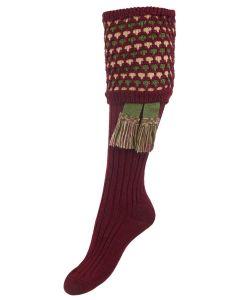 The Lady Honeycomb Shooting Sock with Garter, Burgundy