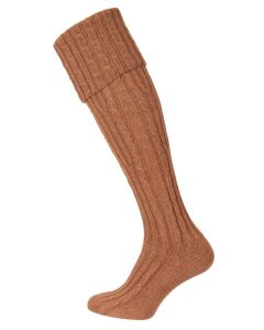 The Skye Cashmere Shooting Sock - Hazlenut