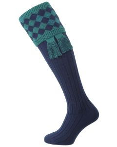 The Fownhope Shooting Sock with Garter, Navy Blue & Teal