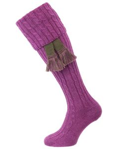 The Wye Cable Knit Shooting Sock, Iris