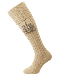 The Wye Cable Knit Shooting Sock, Oatmeal