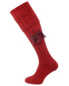 The Wye Cable Knit Shooting Sock, Paprika