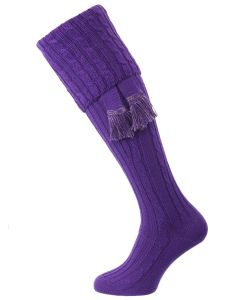 The Wye Cable Knit Shooting Sock, Violet