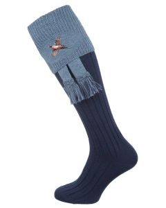 The Lomond Shooting Sock with Embroidery, Navy & Blue Mix