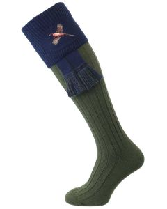 The Lomond Embroidered Shooting Sock, Spruce & Navy Pheasant