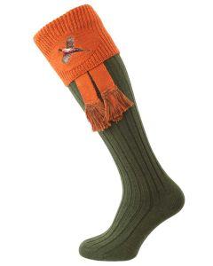 The Lomond Embroidered Shooting Sock, Spruce & Burnt Orange Pheasant