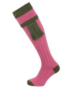 The Willersley Shooting Sock,  Raspberry & Olive