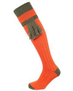 The Willersley Shooting Sock, Saffron & Greenacre