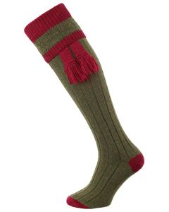 The Willersley Shooting Sock, Greenacre & Cherry