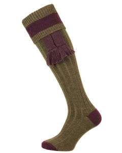 The Marlbrook Fern Green & Fig Merino Shooting Sock