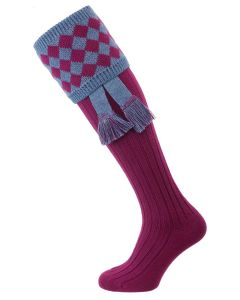 The Fownhope Shooting Sock with Garter - Bilberry & Blue Mix