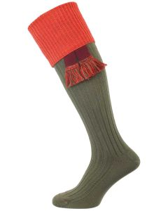 The Tarrington Cotton Shooting Sock, Avocado Green & Copper