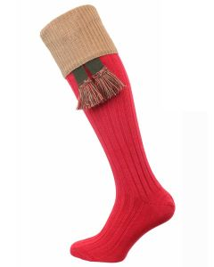 The Tarrington Cotton Shooting Sock, Hollyberry Red & Camel