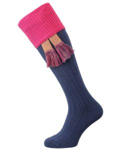 The Tarrington Cotton Shooting Sock, Oxford Blue & Clematis