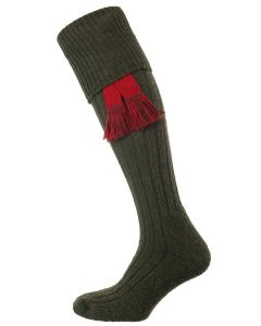 The Woolhope Cushion Sole Shooting Sock, Olive Green