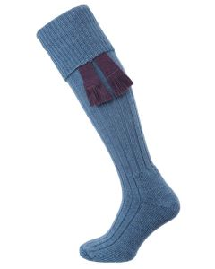 The Woolhope Cushion Sole Shooting Sock, Periwinkle Blue