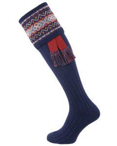 The Thornbury Shooting Sock with Garter, Dark Blue