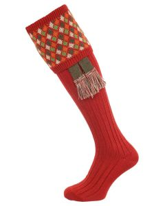 The Durlow Shooting Sock with Garter, Paprika