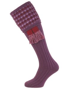 Purple Honeycombe Shooting Socks with Garter