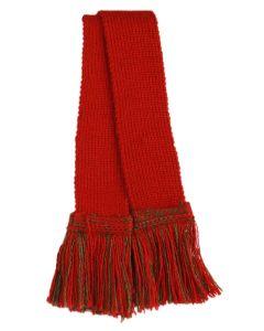 Classic Merino Blend Garter - Brick Red with Spruce