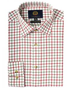Viyella Men's Cotton and Merino Wool Blend Tattersall Checked Shirt, Red and Green