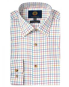 Viyella Men's Cotton & Merino Blend Tattersall Checked Shirt, Gold