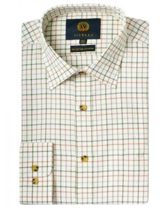 Viyella Men's Cotton & Merino Blend Tattersall Checked Shirt, Lovat