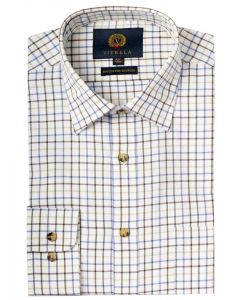 Viyella Men's Cotton & Merino Blend Tattersall Checked Shirt, Purple