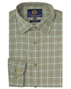 Viyella Cotton Melange Ground Check Shirt, Green