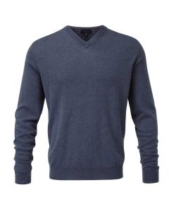 Viyella Merino Wool Vee Neck Jumper, Airforce Blue