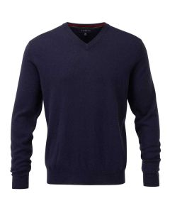 Viyella Merino Wool Vee Neck Jumper, Navy Blue