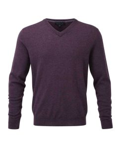 Viyella Merino Wool Vee Neck Jumper, Prune