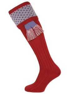 The Whitley Brick Red Shooting Sock with Garter