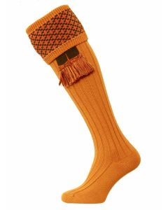 The Whitley Shooting Sock with Garter - Ochre
