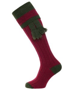 The Willersley Shooting Sock - Cherry & Olive