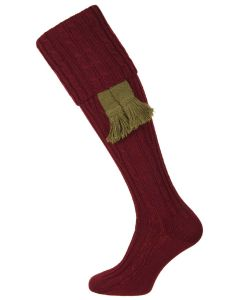 The Wye Cable Knit Shooting Sock, Burgundy