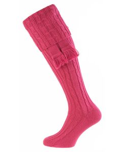 Deep Pink - The Wye Cable Knit Shooting Sock