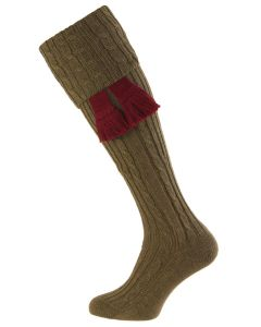 Dark Olive, The Wye Cable Knit Shooting Sock